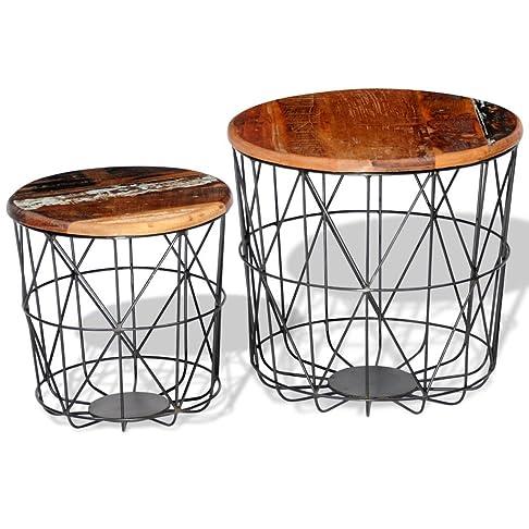 Festnight Tavolino Laterale Set di 2 Tavolini da Caffè in Legno Riciclato 35 cm/45 cm