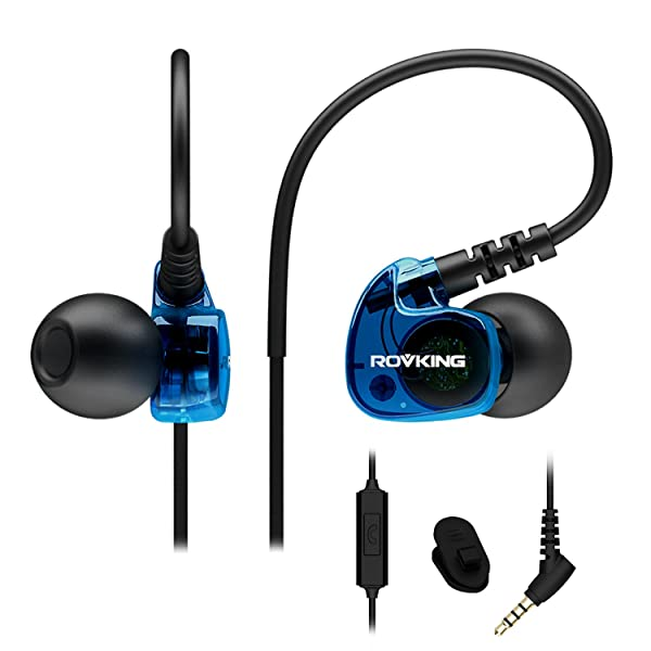 ROVKING Sport Headphones Wired Sweatproof, Over Ear Earbuds for Running Gym Workout Exercise Jogging, Stereo in Ear Earphones with Mic, Noise Isolating Earhook Ear Buds for Cell Phone MP3 Laptop Blue (Color: Blue)
