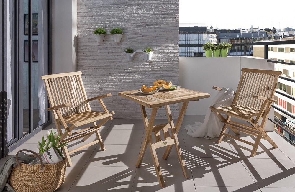 SAM® Teak-Holz Balkongruppe, Gartengruppe, Gartenmöbel 3tlg. Samo, bestehend aus 2 x Klappstuhl + 1 x Tisch, zusammenklappbar, leicht zu verstauen online kaufen