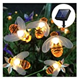 SEMILITS Solar String Lights 20LED Outdoor Waterproof Simulation Honey Bees Decor for Garden Xmas Decorations Warm White (Color: Warm White)