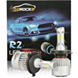 R2 COB H4 HB2 9003 8000LM LED Headlight Conversion Kit, Hi/Lo beam headlamp, Dual Beam Head Light, HID or Halogen Head light Replacement, 6500K Xenon White, 1 Pair- 1 Year Warranty (Tamaño: H4/HB2/9003)