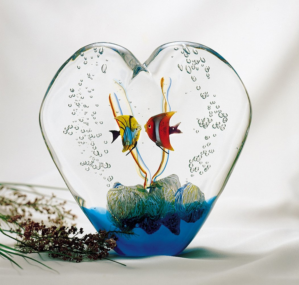 Italian Murano Glass Heart with Two Fish
