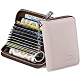 FurArt Credit Card Wallet, Zipper Card Cases Holder for Men Women, RFID Blocking, Key Chain, 12 Slots, Compact Size (Beige) (Color: Beige, Tamaño: Compact)