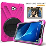 Galaxy Tab A 10.1 Case, Hybrid Three Layer Full Body Protective Case with Hand Strap & Kickstand for Samsung Galaxy Tab A 10.1 (with S Pen Version) SM-P580 [Not for Galaxy Tab A 10.1 T580] - Hot Pink (Color: Hot Pink)