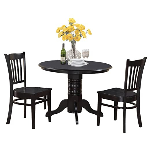 East West Furniture SHGR3-BLK-W 3-Piece Kitchen Table Set, Black Finish