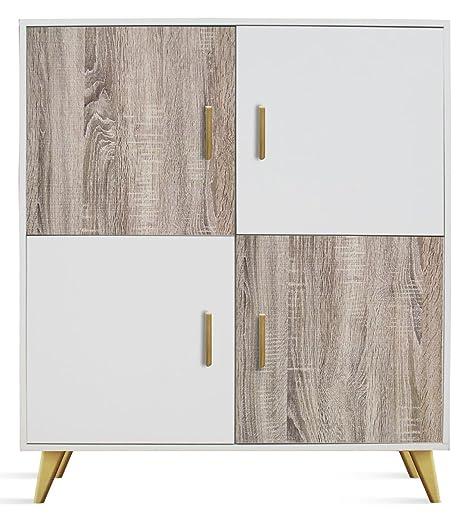 Commode en bois coloris Blanc / Cambrian avec 4 portes - Dim : L 100 x H 114 x P 35 cm -PEGANE-