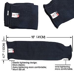 XHSJ Cut Resistant Knit Sleeves Level 5 Protection Slash