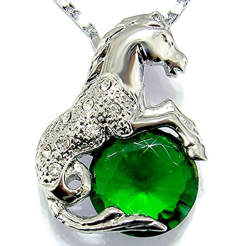 Emerald Color CZ Horse Silver Tone Pendant with 18Necklace