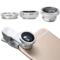 Ecandy 3 in 1 Clip-On 180 Degree Fisheye + Wide Angle + Macro Lens Camera Photo Kit For Apple iPhone For iPhone 6 / 6 Plus, iPhone 5 5S 4 4S, iPad Air 2/1, iPad 4/3/2, iPad Mini 3/2/1, Tablet PC, Laptops, Samsung Galaxy S5/S4