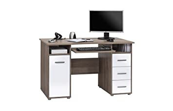 Computertisch Schreibtisch MAJA in Eiche Truffel sägegrau / Weiß Hochglanz 120x75x67cm PC-Tisch
