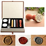Seal Wax Kit,PUQU Vintage Initial Letters A-Z Alphabet Wax Badge Seal Stamp Kit Wax Set Tool Gift(A) (Color: A)