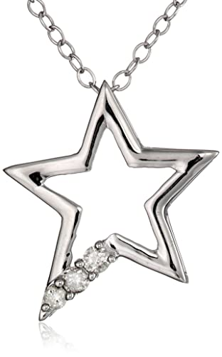 Sterling-Silver-Three-Stone-Diamond-1-10cttw-I-J-Color-I2-I3-Clarity-Star-Pendant-Necklace