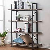 HSH Furniture 4-Shelf Vintage Industrial Bookshelf, Rustic Wood and Metal Bookcase, Open Wide Office Etagere Book Shelf, Dark Oak (Color: Dark Oak, Tamaño: 4-Shelf)