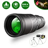 Monocular Telescope,16x52 Monocular Dual Focus Optics Zoom Telescope, Day & Low Night Vision- [Upgrade]Waterproof Monocular with Durable and Clear FMC BAK4 Prism Dual Focus for Bird Watching, Camping (Color: Black)