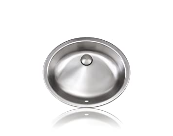 Lenova SS-B2 Bath Collection Oval Undermount/Topmount Bathroom Sink, Stainless Steel