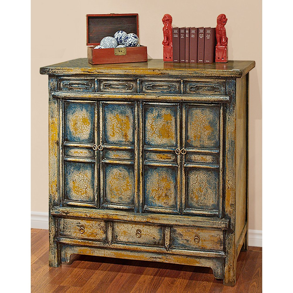 China Furniture Online Elmwood Cabinet, Vintage Hand Crafted Qing Style Distressed Blue and Yellow 0
