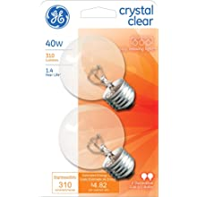 GE Lighting 31109 40-Watt Crystal Clear G25 Vanity Globe Light Bulb, 2-Pack
