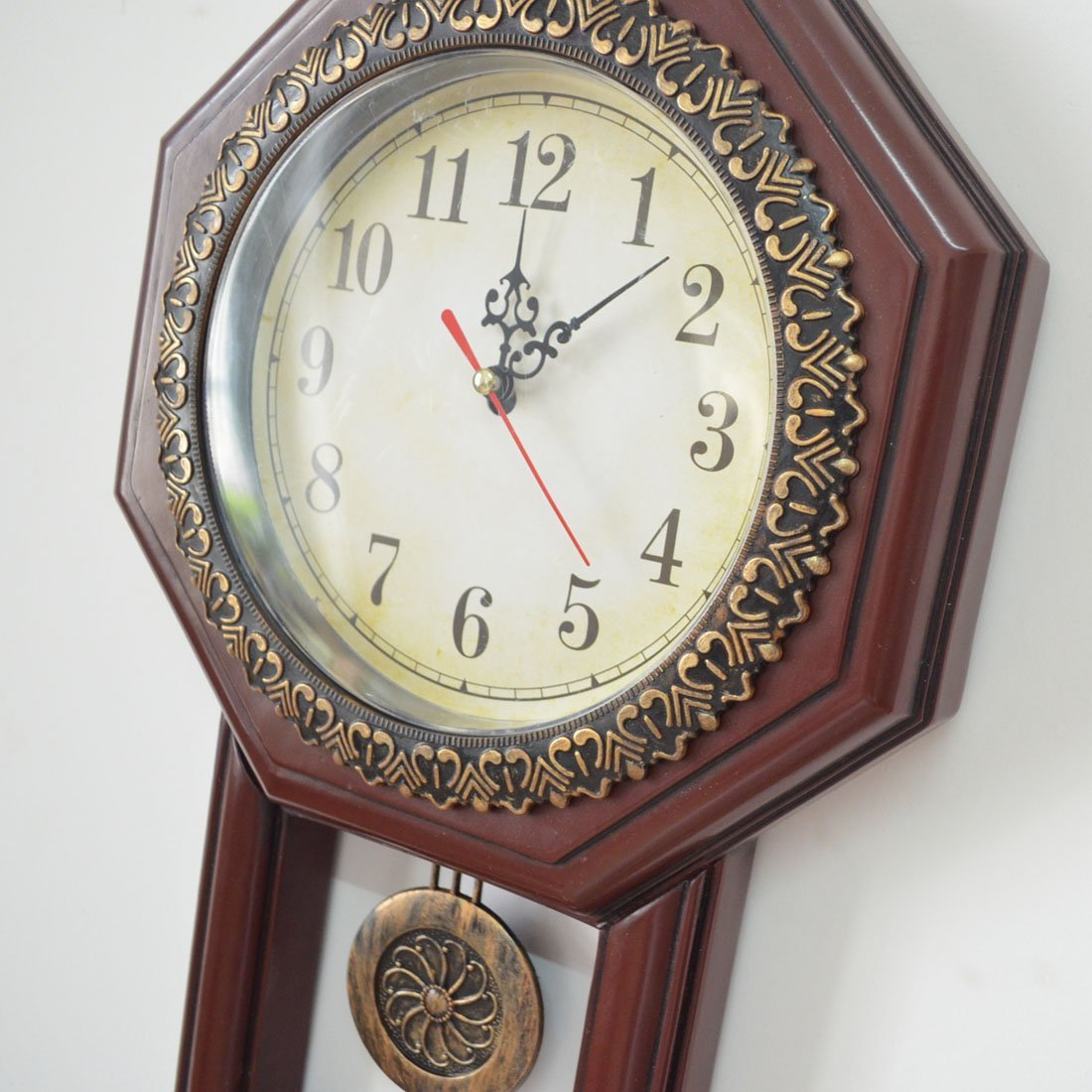 Giftgarden Housewarming Vintage Wall Clock Imitation Wood Color for Bedroom Decor 6