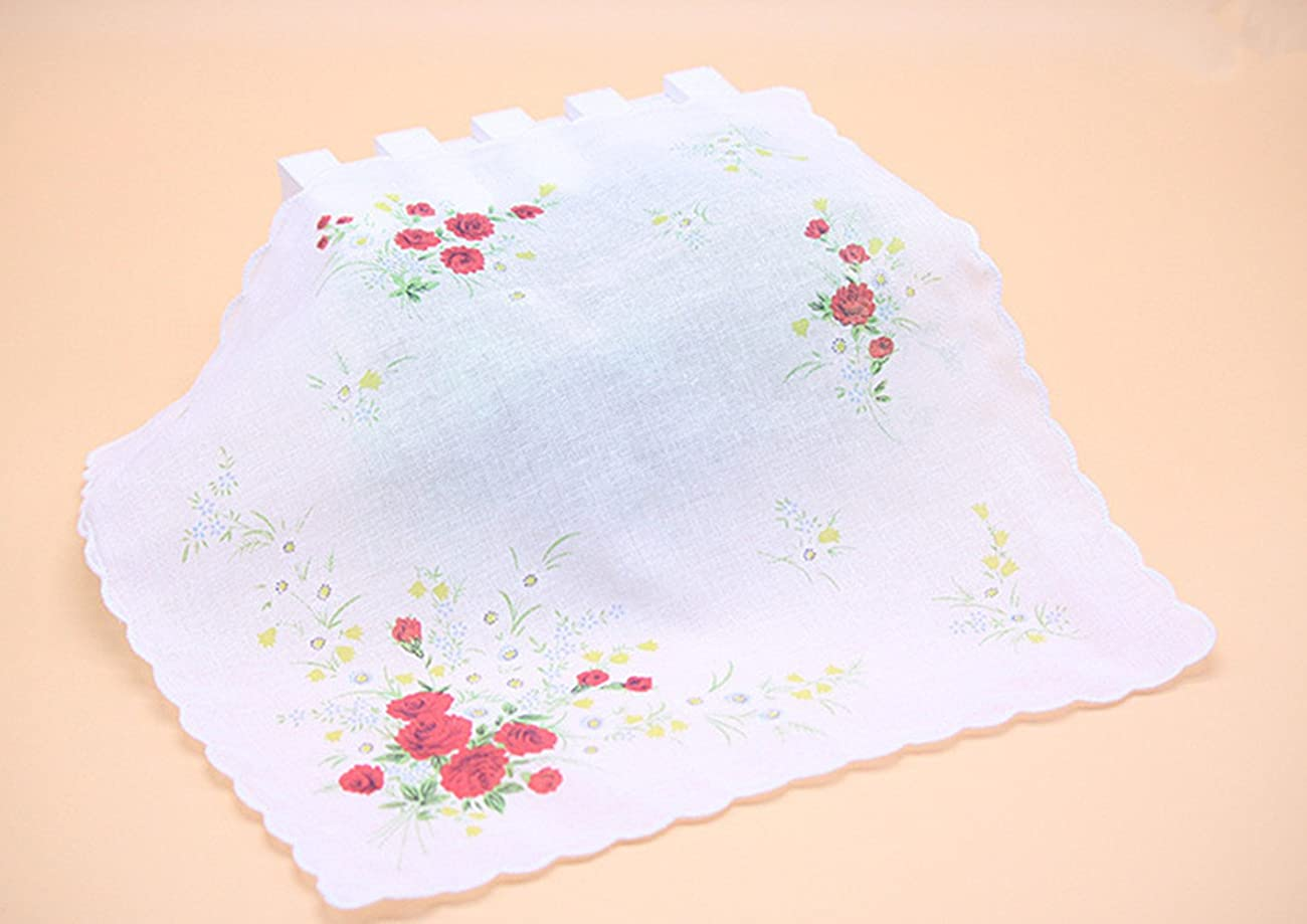 Colorful Women Quadrate Floral Handkerchiefs Wedding Party Fabric Hankies 3