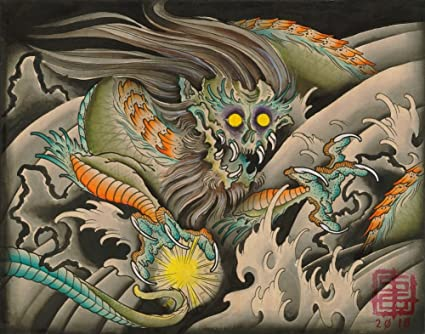 Japanese Oni Painting Oni Dragon by Samuel Gosson