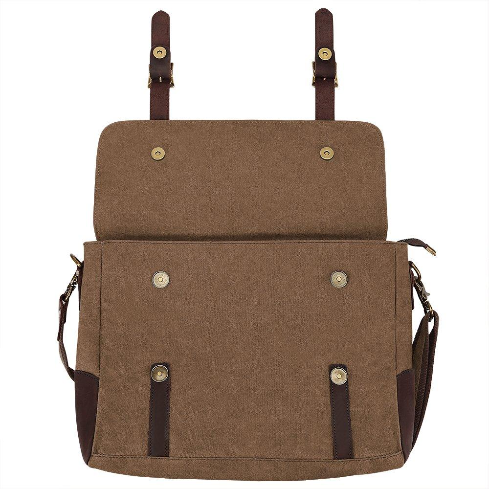 S ZONE Vintage Canvas Leather Messenger Traveling Briefcase Shoulder Laptop Bag 4