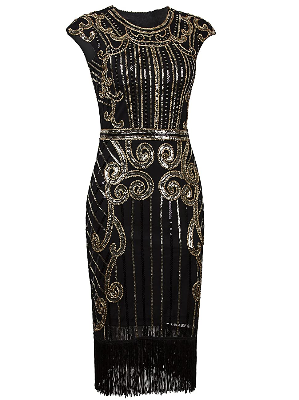 Vijiv 1920s Vintage Inspired Sequin Embellished Fringe Long Gatsby Flapper Dress 0