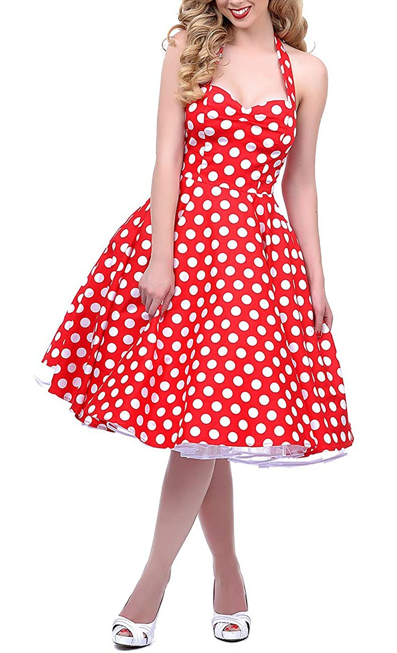 BI.TENCON 1950s Halter Style Vintage Polka Dot Swing Party Dress 0