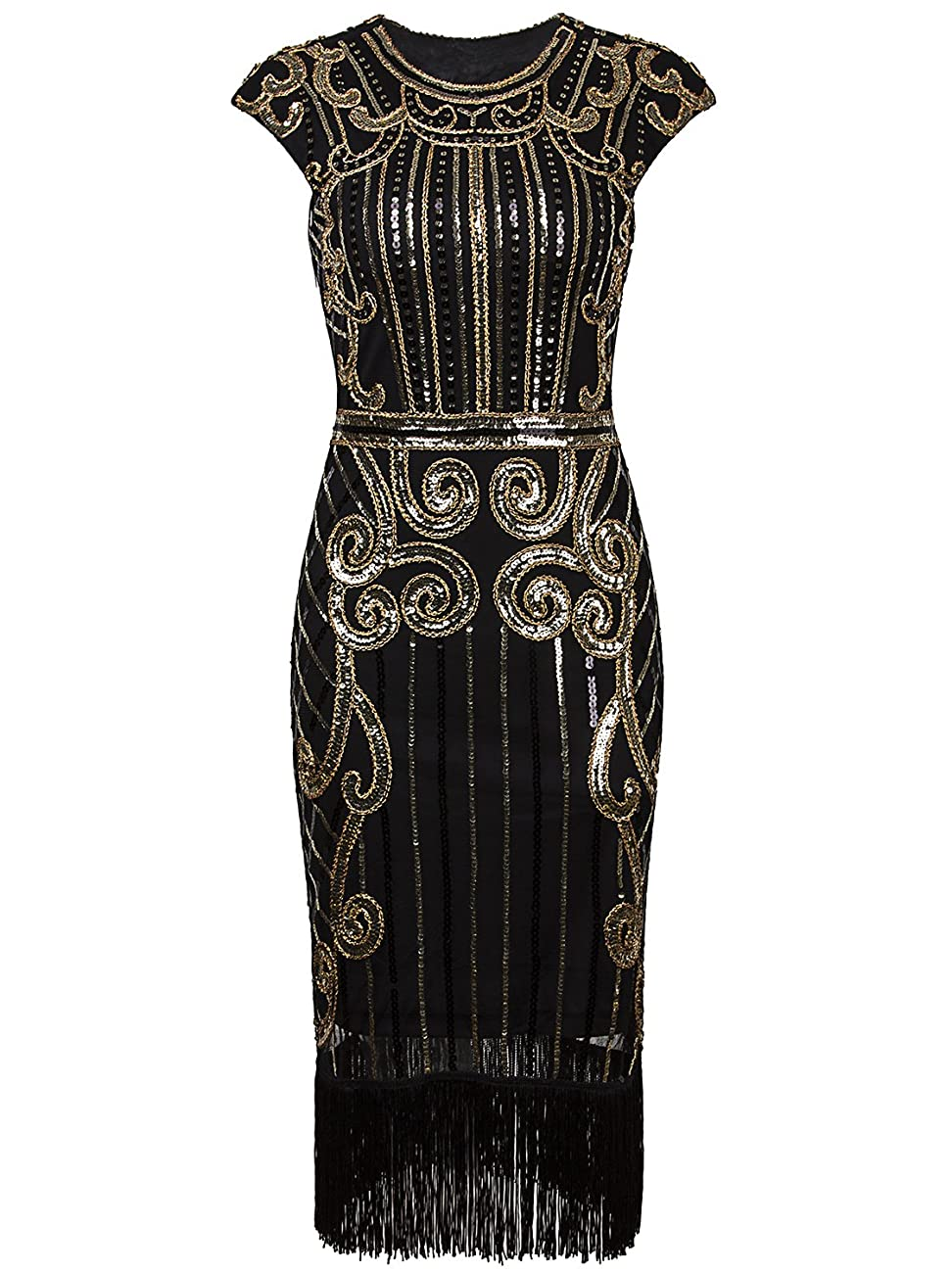 Vijiv 1920s Vintage Inspired Sequin Embellished Fringe Long Gatsby Flapper Dress 1