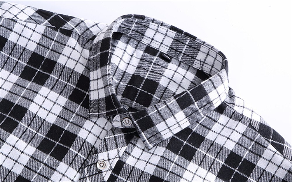 WELITY Men's Long Sleeves Retro Vintage Checker Plaids Dress Shirt 2