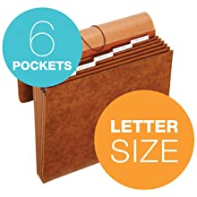 Globe-Weis Letha-Tone 6-Pocket Student File with Flap, Letter Size, Brown (MM38L)