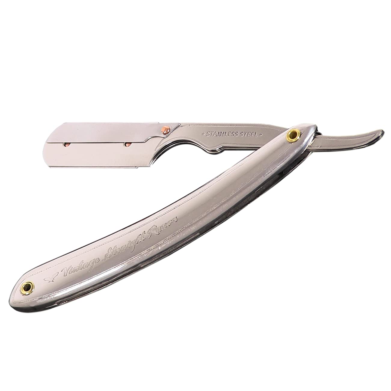 Vintage Straight Razor For Men - Shave Like A Man With A Stainless Steel Straight Edge Razor - Reduce Ingrown Hairs Razor Bumps And Burns - Includes 5 Shark Super Stainless Blades 0