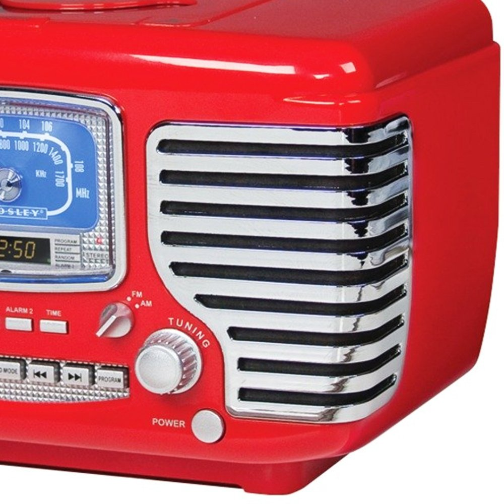 Crosley Corsair Red Alarm Radio and CD Player 2
