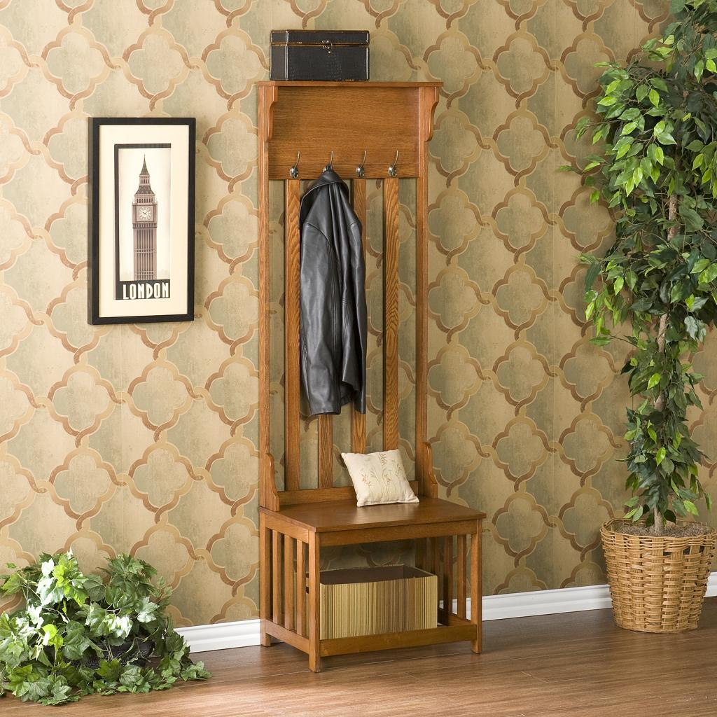 Mission Oak Hall Tree Entry Bench Furniture Decor