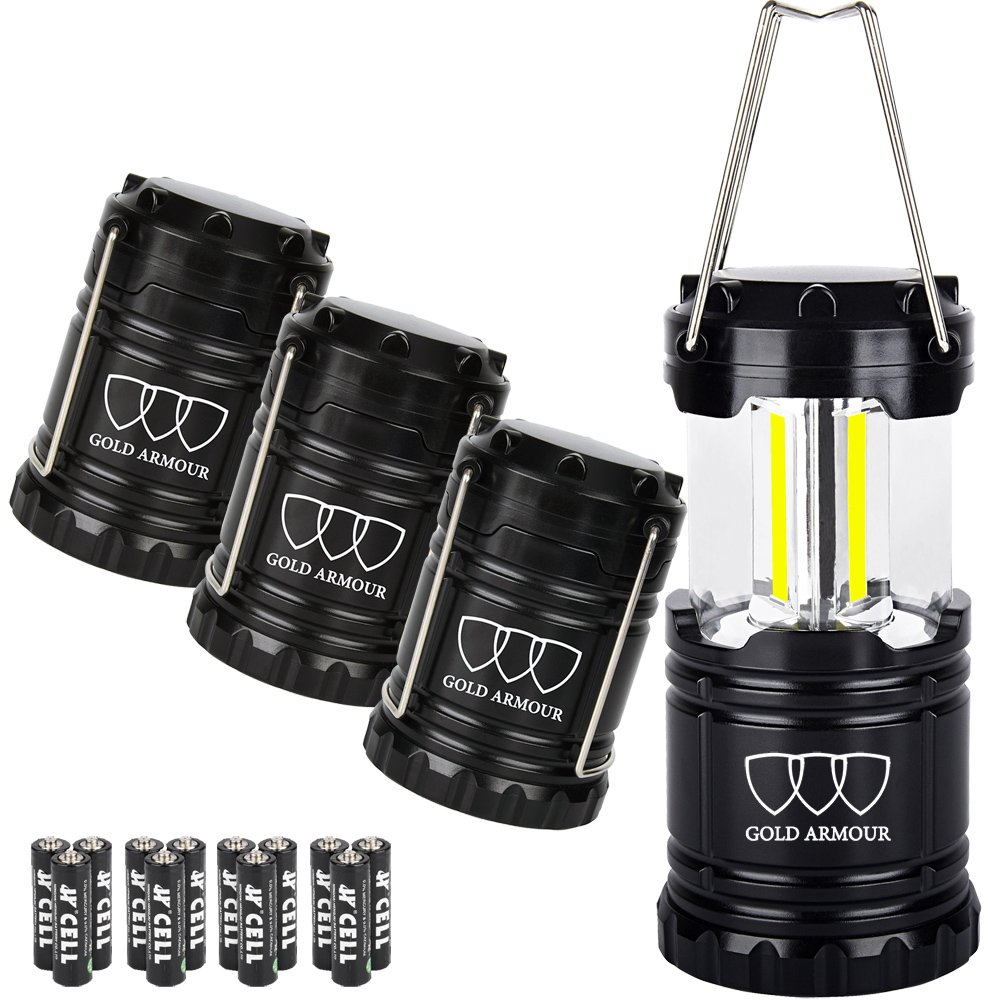 Brightest Camping Lantern - LED Lantern (EMITS 350 LUMENS!) - Camping Equipment Gear Lights for Hiking, Emergencies, Hurricanes, Outages, Storms (Black, 4 Pack)