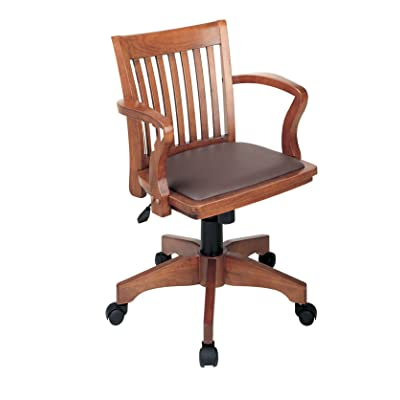 Office Star Deluxe Wood Bankers Desk Chair With a Brown vinyl padded Seat, Fruit Wood