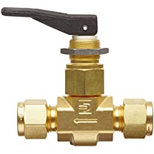 Parker VQ Series Brass Toggle Valve, Inline, Toggle Handle, PTFE Stem, A-Lok Compression Fitting