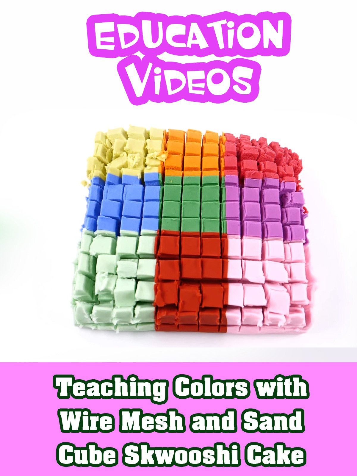 Teaching Colors with Wire Mesh and Sand Cube Skwooshi Cake