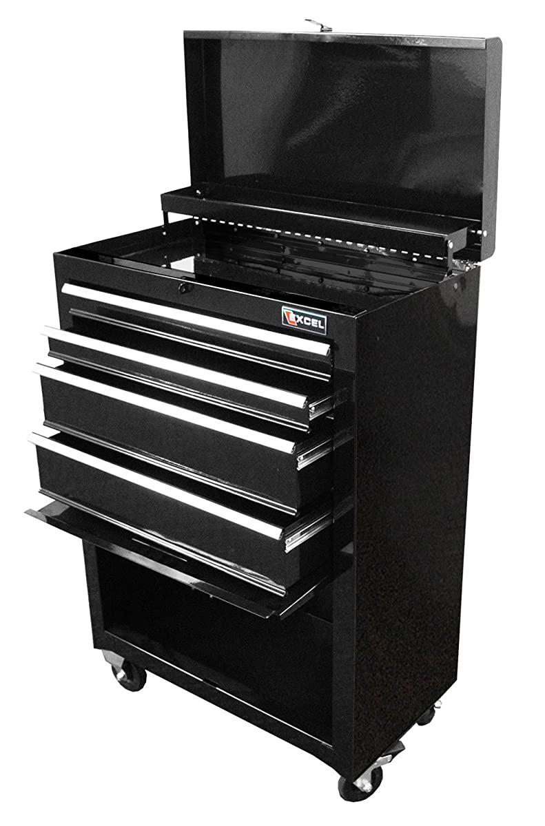Excel TB2201X-Black 22-Inch Steel Chest Roller Cabinet Combination, Black