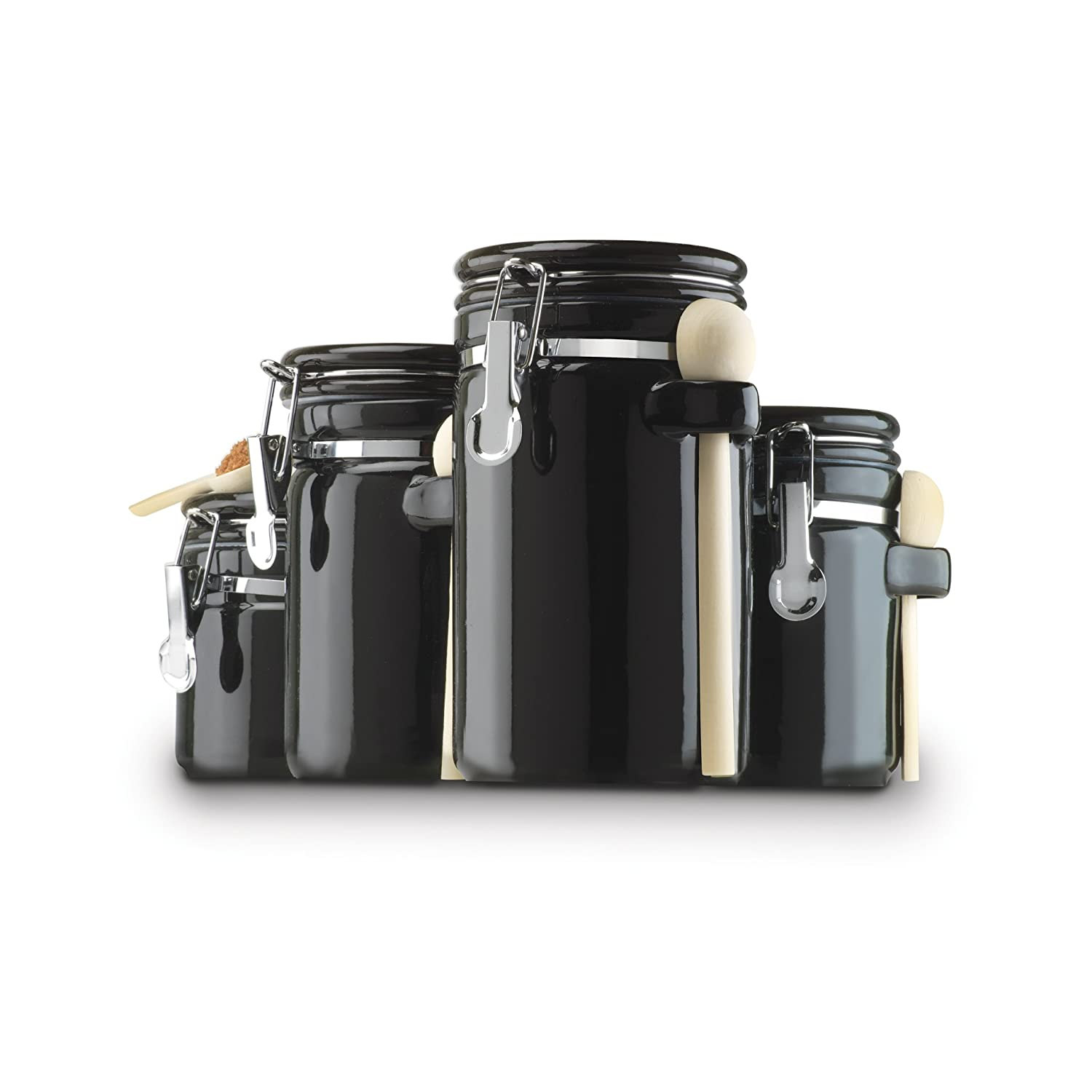 4 piece ceramic kitchen countertop canister container set for Kitchen canisters set 4