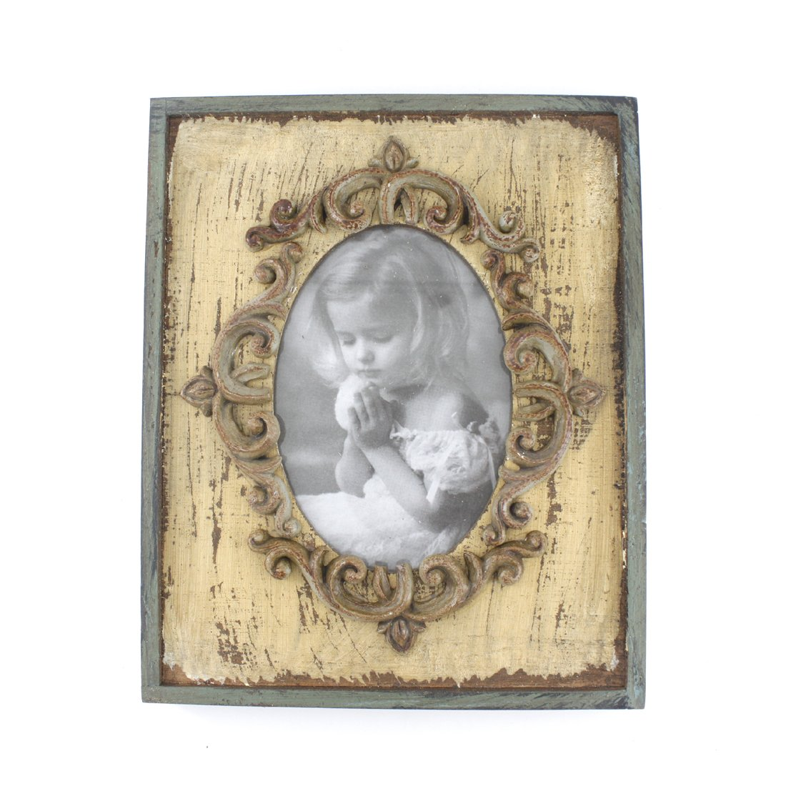 3x5-inch Vintage Rustic Feel Wooden Family Picture Photo Frame with Glass Front for Desk Top (Beige) 0