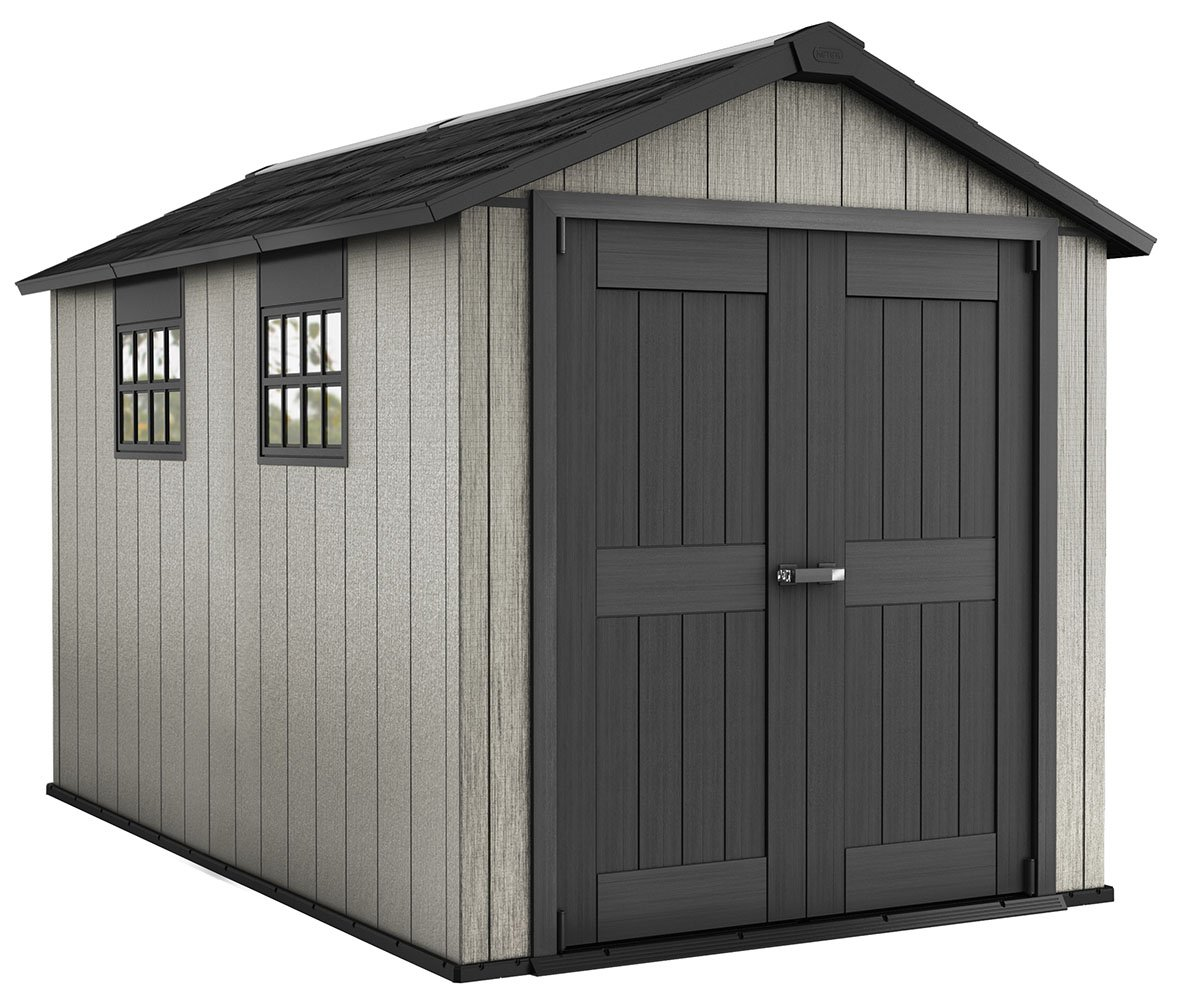 Keter Oakland 7.5 x 11 Outdoor Duotech Storage Shed, Paintable with Two Windows and a Skylight