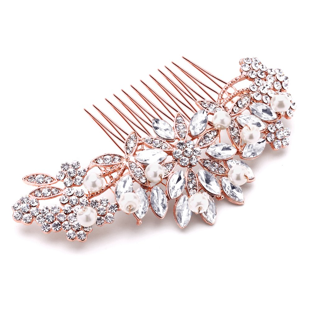 Mariell Rose Gold Vintage Pearl and Mixed Crystal Sunburst Wedding, Bridal, Prom Comb - Retro Glam 0