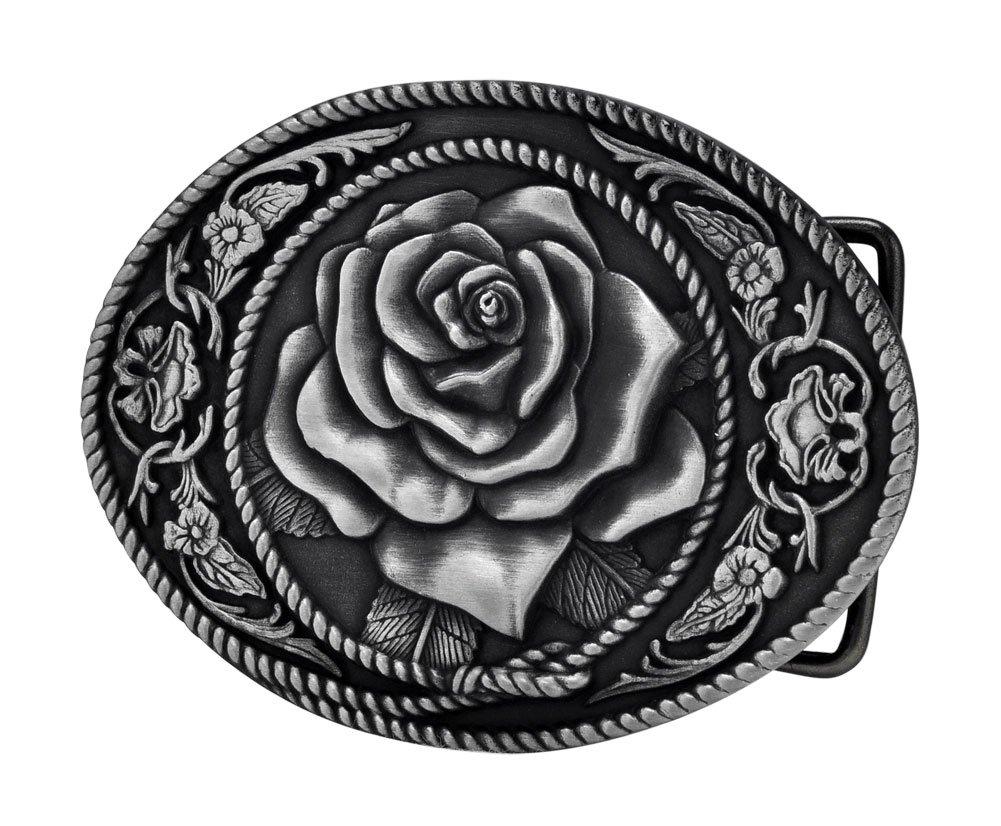 Buckle Rage Adult Womens Western Vintage Rose Ornate Rope Belt Buckle Silver 0