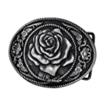 Buckle Rage Adult Womens Western Vintage Rose Ornate Rope Belt Buckle Silver