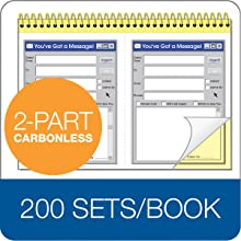 Adams You've Got A Message Pad, 5.25 x 7.33 Inch, 2-Part, Carbonless, 2 Messages per Page, 200 Sets, White and Canary (SC5702WS)