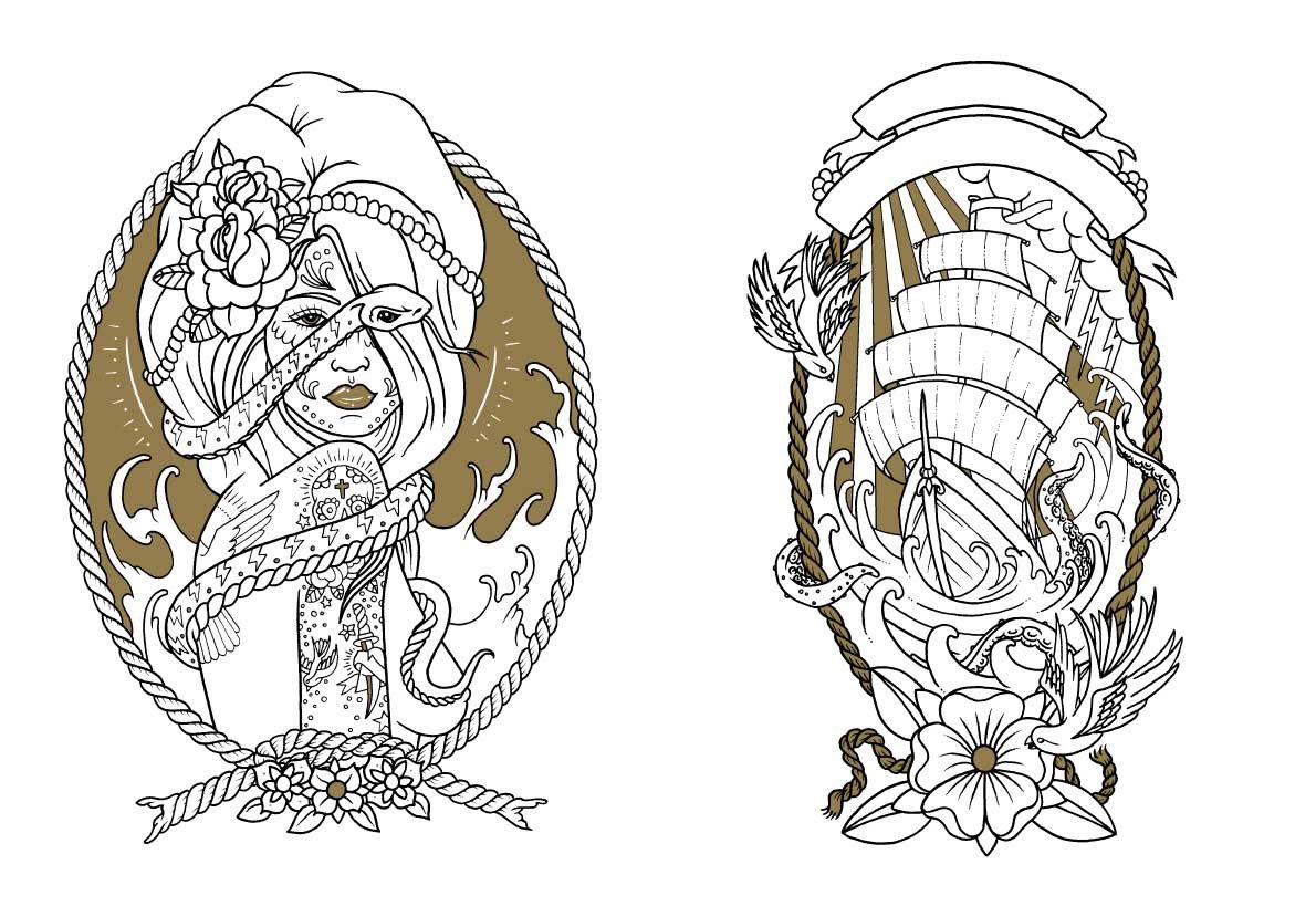 Skull coloring dia de los muertos on pinterest sugar for Tattoos coloring pages