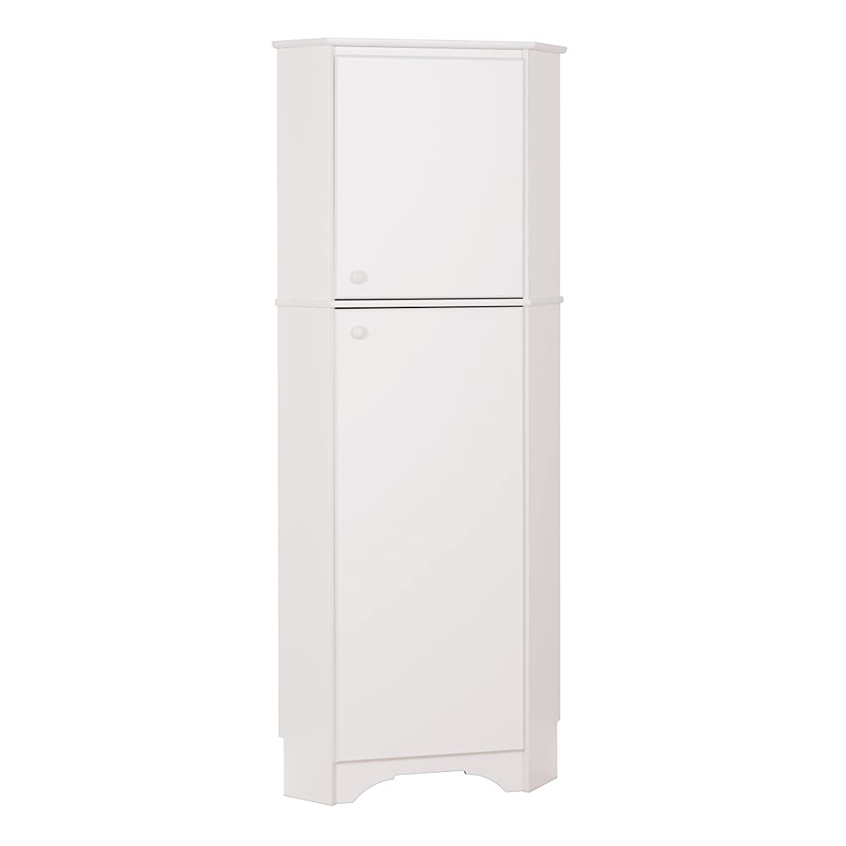 Prepac Tall 2 Door Corner Storage Cabinet in Elite White