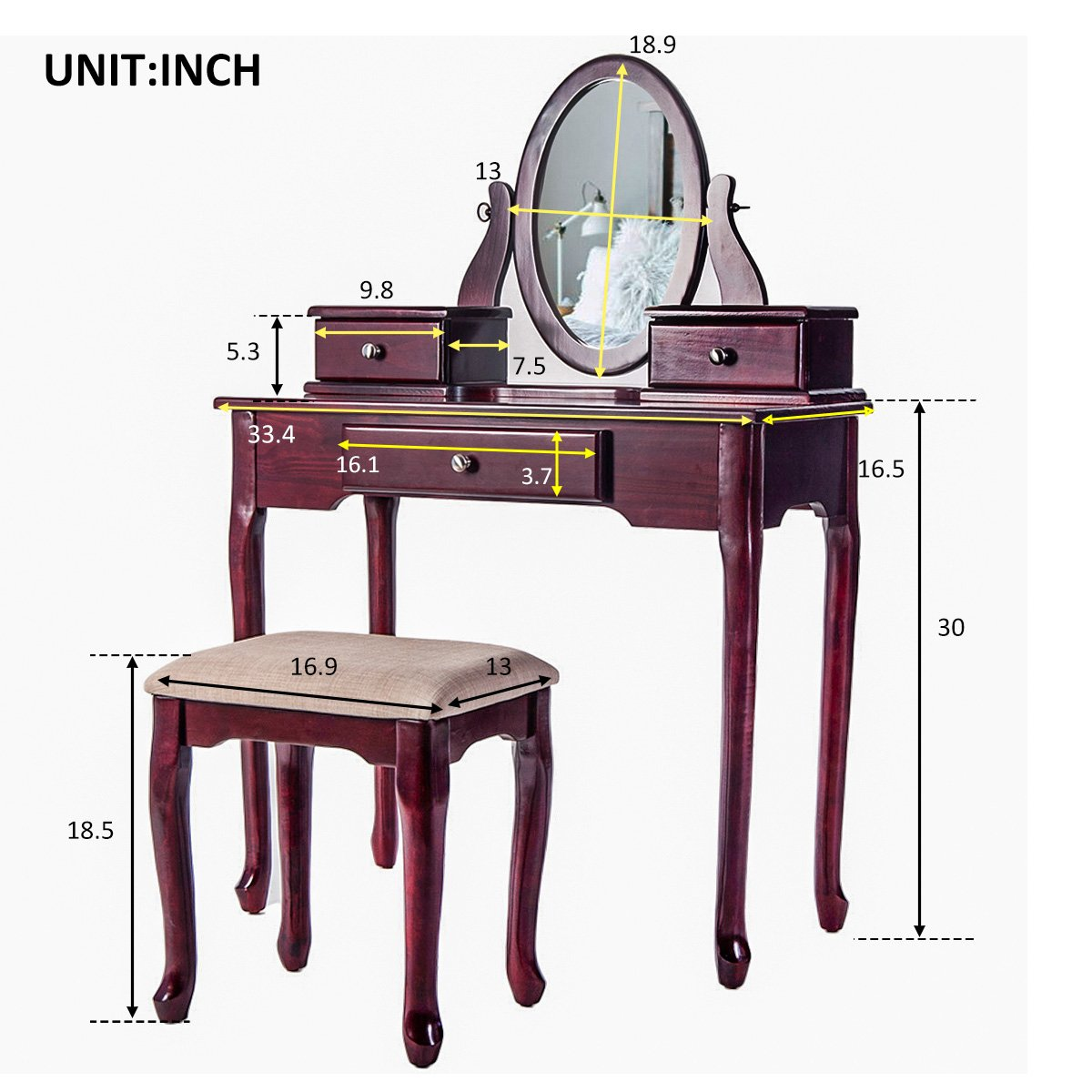Merax Vanity Set with Stool Dressing Make-Up Table with 3 Drawers and Mirror Bedroom (Cherry)