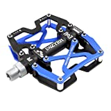Mzyrh Mountain Bike Pedals, Ultra Strong Colorful CNC Machined 9/16 Cycling Sealed 3 Bearing Pedals (Black 2P Blue) (Color: Black 2P Blue)