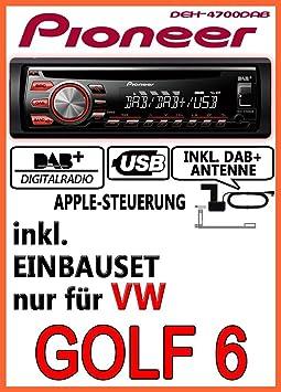 VW Golf 6 / Plus / Variant / Jetta 6 - Pioneer DEH-4700DAB - DAB CD USB Autoradio inkl. DAB Antenne - Einbauset